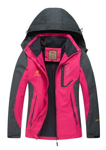 Diamond Candy Women Windproof Hooded Waterproof Rain Jacket Lightweight for Hiking Hot Pink