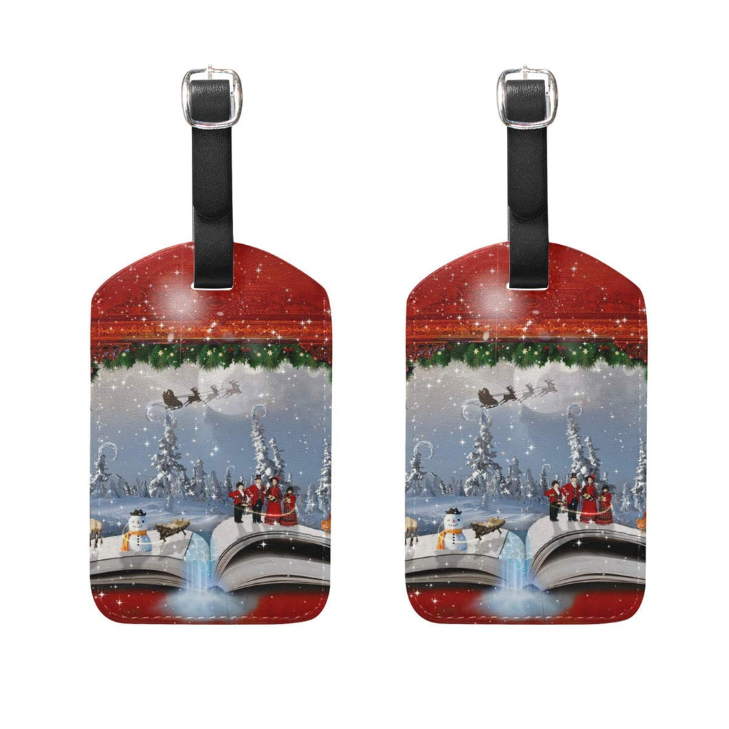 EnmindonglJHO Luggage Tags Christmas Holiday Womens Baggage Tag Holder Airplane Travel Accessories Set Of 2