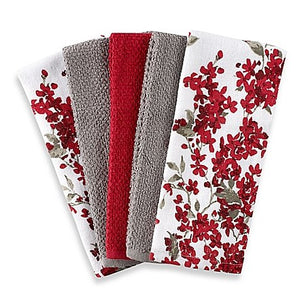 "Cherry Blossom 5-Pack Kitchen Towel Set in Red/White | Each Towel Measures 16"" L x 26"" W"