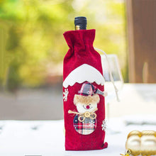 Load image into Gallery viewer, Christmas Holiday Wine Bottle Bags Cover, Christmas Candy Bag for Dinner Party Decoration, Hotel Kitchen Table Decoration 12x5.5inch 3 Pack