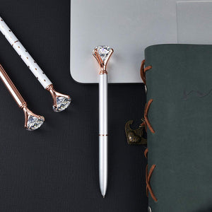 3 Pcs Rose Gold Pen with Big Diamond/Crystal ,Metal Ballpoint Pen,Rose Gold/Silver Office Supplies,Black Ink (3pcs) (RR-12-19-9)