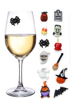 Load image into Gallery viewer, Halloween Wine Charms Set of 12 Magnetic Drink Markers & Tags for Stemless Glasses, Beer Mugs, Champagne Flutes and More
