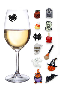 Halloween Wine Charms Set of 12 Magnetic Drink Markers & Tags for Stemless Glasses, Beer Mugs, Champagne Flutes and More