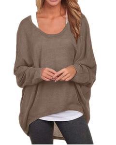 ZANZEA Women's Long Batwing Sleeve Loose Oversize Pullover Sweater Top Blouse Brown US 8/Tag Size M