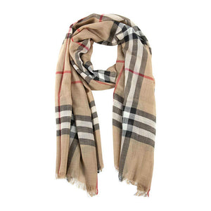 Burberry Unisex Lightweight Check Wool and Silk Scarf Camel