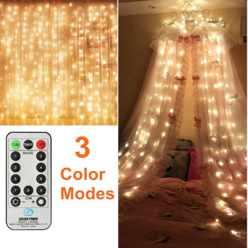 MZD8391 2 Colors 300 LED Curtain Lights, White & Warm White 2 In 1, Remote Control Window Curtain String Light for Wedding Party Home Garden Bedroom Outdoor Indoor Wall - 9 Lighting Modes With Timer