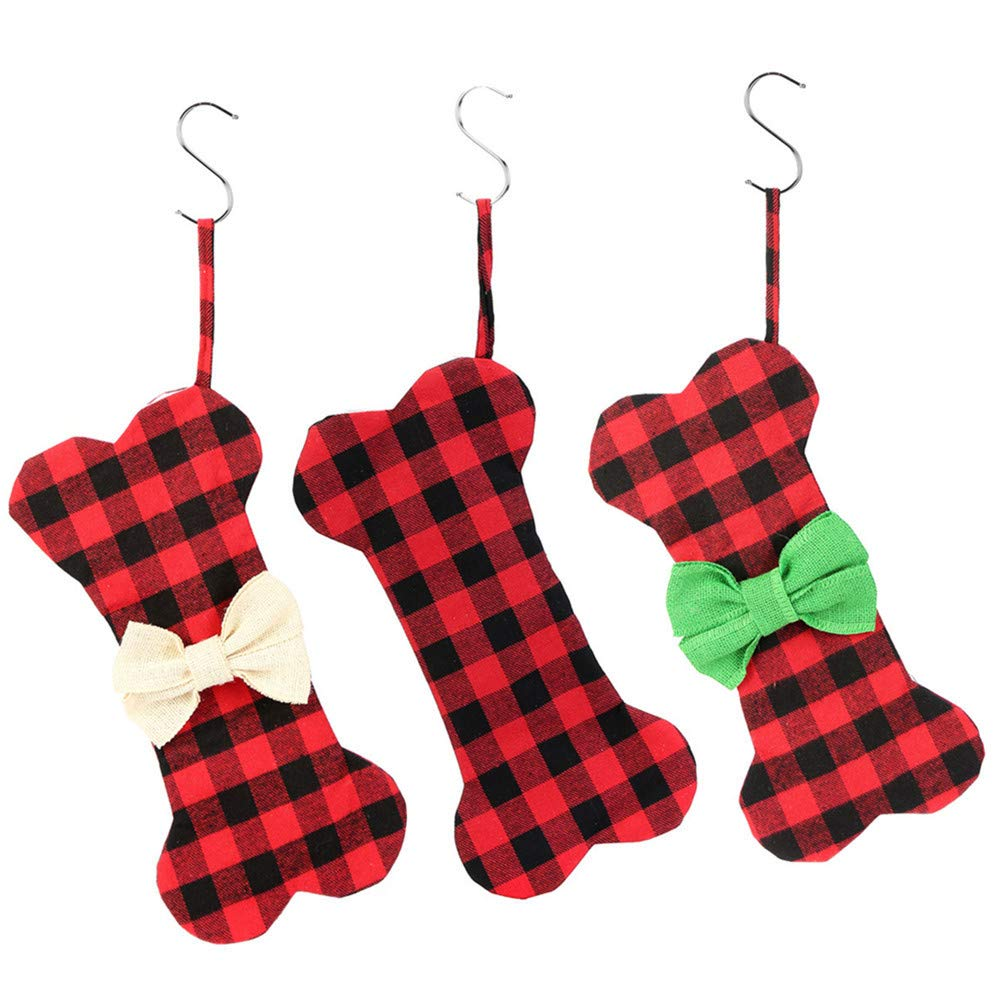 Buffalo Plaid Dog Bone Christmas Stocking Pets Christmas Ornament (3pcs)