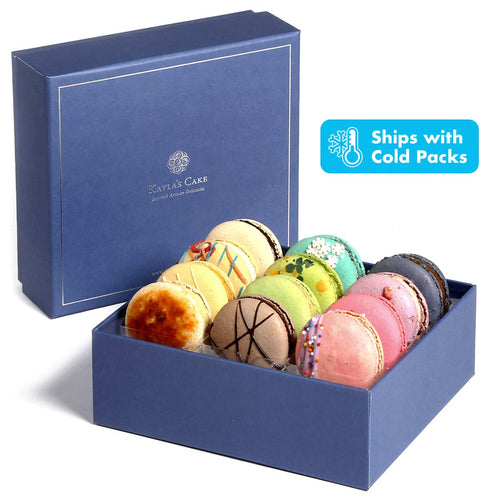 Kayla's Cake Premium French Macarons Cookies Gift Baskets Gourmet Chocolate Box Food Desserts Birthday Snack Care Packages College Students Holiday Christmas Thank You Condolences Women Men Classic 12