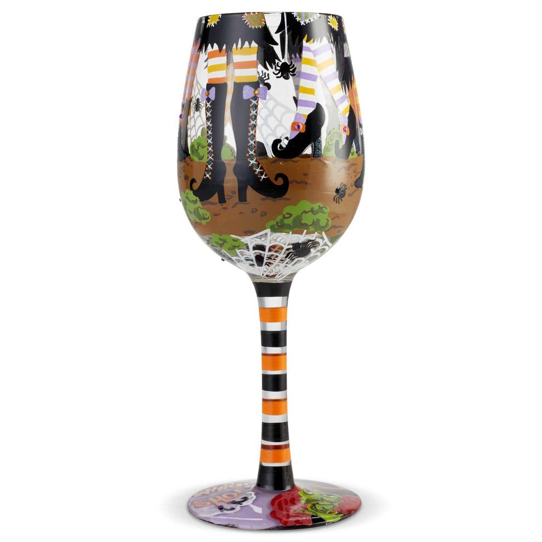 Enesco 6004429 Designs by Lolita Which Shoes Hand-Painted Artisan Wine Glass 15 Ounce Multicolor