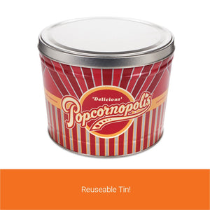 Popcornopolis Gourmet Popcorn 1.26 Gallon Tin, Filled with Zebra Popcorn