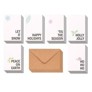 48-Pack Merry Christmas Greeting Cards Bulk Box Set - Winter Holiday Xmas Holiday Greeting Cards with Minimalistic Design, Envelopes Included, 4 x 6 Inches