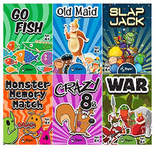 Load image into Gallery viewer, Regal Games Classic Card Games 6 Game Set (Old Maid - Go Fish - Slapjack - Crazy 8s - War - Monster Memory Match)