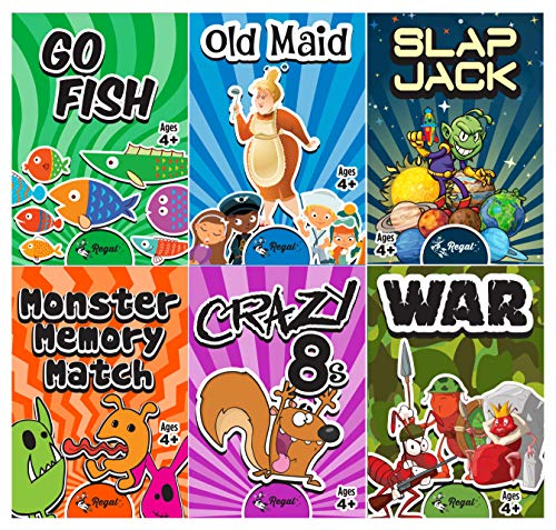 Regal Games Classic Card Games 6 Game Set (Old Maid - Go Fish - Slapjack - Crazy 8s - War - Monster Memory Match)