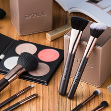 Load image into Gallery viewer, 70% SALE!SIXPLUS 15pcs Coffee Makeup Brush Set with Makeup Holder (coffee)