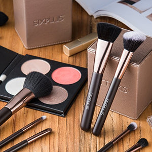 70% SALE!SIXPLUS 15pcs Coffee Makeup Brush Set with Makeup Holder (coffee)