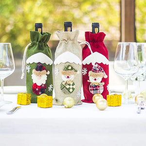 Christmas Holiday Wine Bottle Bags Cover, Christmas Candy Bag for Dinner Party Decoration, Hotel Kitchen Table Decoration 12x5.5inch 3 Pack