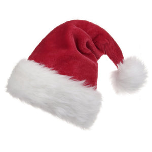 B-Land Unisex-Adult's Santa Hat, Velvet Christmas Hat with Plush Trim ∧ Comfort Liner