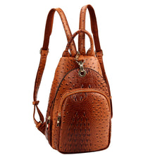 Load image into Gallery viewer, Multi-Pocket Vegan Leather Fashion 2 Way Medium Slim Pocket Backpack Shoulder Bag (Leopard Print - Taupe)