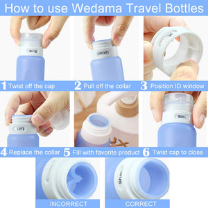 Travel Bottles , Wedama Leakproof Silicone Travel Containers with 5 Pcs TSA Approved Squeezable 3/1.25oz Travel Bottles & Accessories for Cosmetic Shampoo Conditioner Lotion Soap Liquids Toiletries