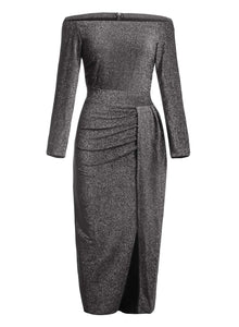 Happy Sailed Women Half Sleeve Off The Shouder Metallic Knit Slit Evening Party Dresses S Black