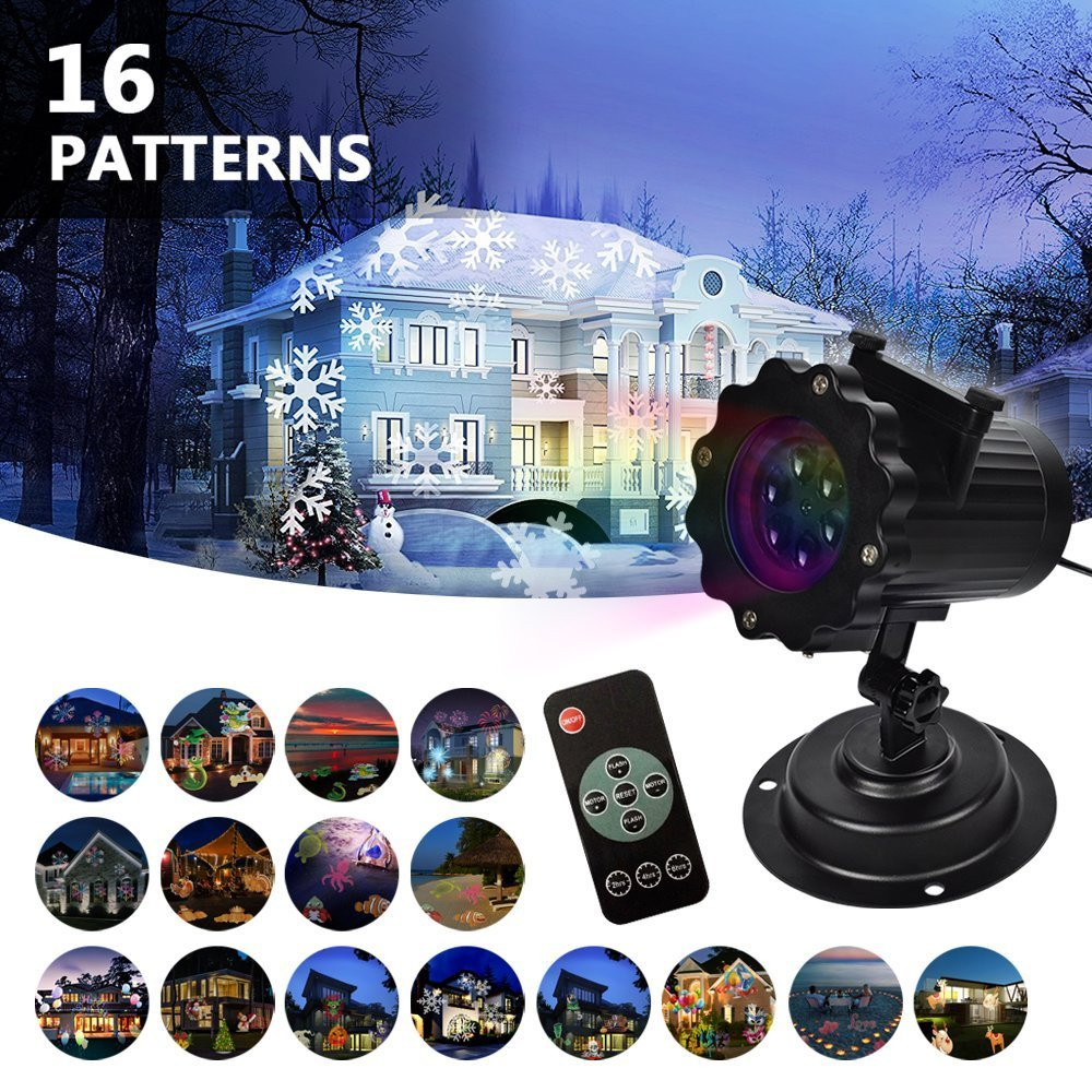LIFU Christmas Lights Projector - 2018 Upgrade Version 16 Patterns LED Projector Landscape lamp Remote Control and Waterproof Perfect for Halloween or Christmas