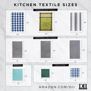 "DII Cotton Dish Towels, 18x28"" Set of 2, Decorative Oversized Kitchen Towels,Perfect Home and Kitchen Gift-Bushel & Peck"