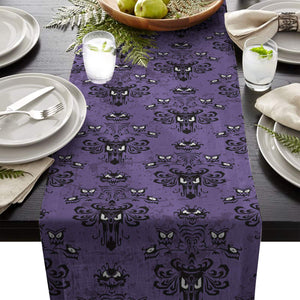 ARTSHOWING Halloween Table Runner Party Supplies Fabric Decorations for Wedding Birthday Baby Shower 18x72inch Haunted Mansion
