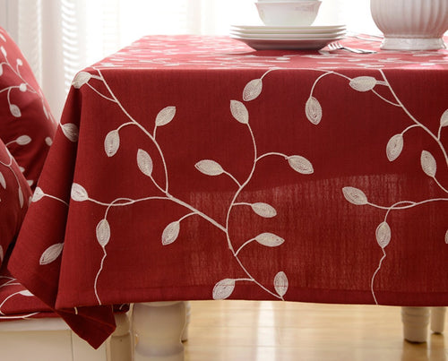 Tina Cotton Linen Tablecloth Leaf Embroidered Table Cover for Dinner Kitchen Red, 60