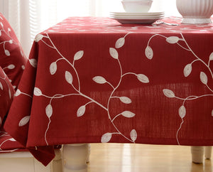 "Tina Cotton Linen Tablecloth Leaf Embroidered Table Cover for Dinner Kitchen Red, 60""x90"""