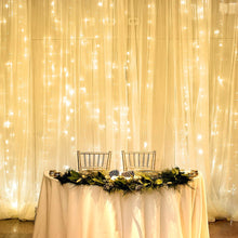 Load image into Gallery viewer, LE LED Curtain Lights, 19.7x9.8ft, 594 LED, 8 Modes, Plug in Twinkle Lights, Warm White, Indoor Outdoor Decorative Wall Window String Lights for Bedroom, Party, Wedding Backdrop, Patio Décor and More