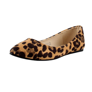 Bella Marie Angie-53 Women's Classic Pointy Toe Ballet Suede Flats Leopard 7.5 B