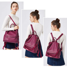 Load image into Gallery viewer, Women Backpack Purse Fashion Leather Large Travel Bag Ladies Shoulder Bags Wine Red