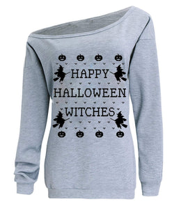 lymanchi Women Halloween Costume Off Shoulder Tops Casual Pullover Slouchy Sweatshirt A Grey S