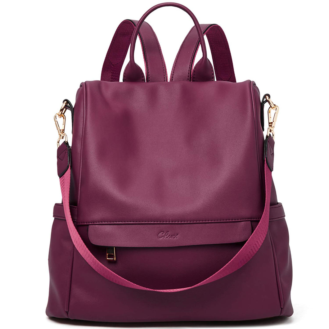 Women Backpack Purse Fashion Leather Large Travel Bag Ladies Shoulder Bags Wine Red