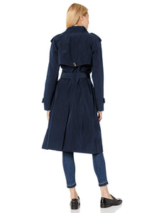 London Fog Women's 3/4 Length Double-Breasted Trench Coat with Belt, Navy, Medium