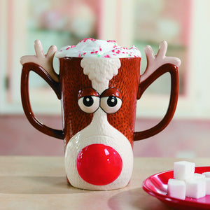 Fun Express Reindeer Face Mug-Holiday Drinkware-Hot Cocoa Gift-Holiday Decor-1 pc