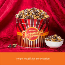 Load image into Gallery viewer, Popcornopolis Gourmet Popcorn 1.26 Gallon Tin, Filled with Zebra Popcorn