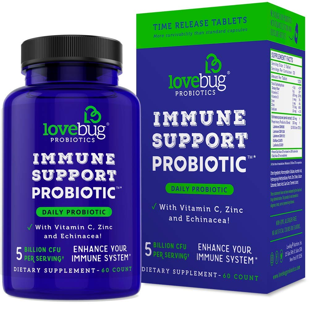 Lovebug Probiotic - Time Release Patent Delivery for Cold, Flu and Immune Support Wellness Supplement, Contains Vitamin C, Zinc & Echinacea, 60 Day Supply.
