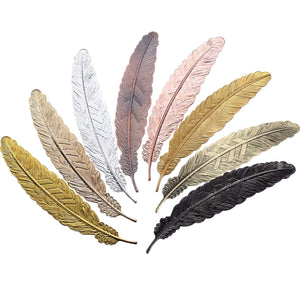Gejoy 8 Pieces Metal Feather Bookmarks Assorted Metal Bookmark Feather Shape Book Marker for Adults and Kids (Set 1)