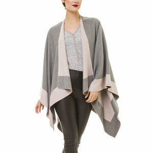 Women's Shawl Wrap Poncho Ruana Cape Cardigan Sweater Open Front for Fall Winter (Gray Pink)