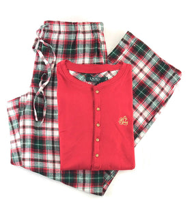 Lauren by Ralph Lauren Womens Henley and Flannel Pants Pajama Set Large Red/White Red Green