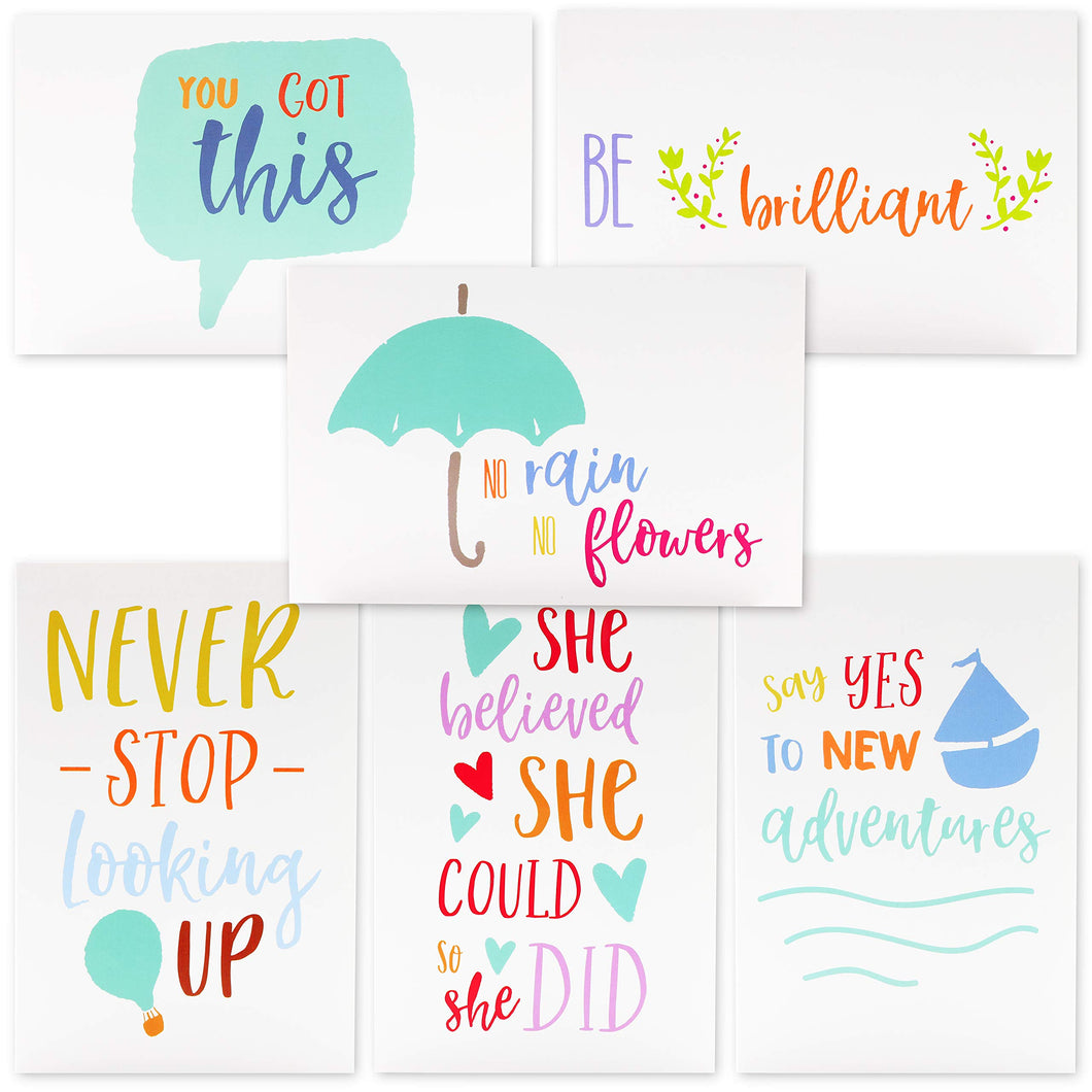 Best Paper Greetings 48-Count Inspirational Quote Note Cards Bulk Box Set - 6 Unique Inspiring Motivational Designs with Envelopes, 4 x 6 Inches