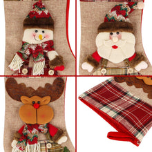Load image into Gallery viewer, Aitey Christmas Stocking, Set of 3 Santa, Snowman, Reindeer, Xmas Character 3D Plush with Faux Fur Cuff Christmas Decorations and Party Accessory