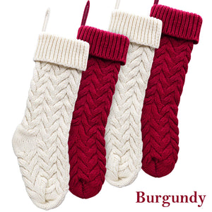 LimBridge Christmas Stockings, 4 Pack 18 inches Large Size Cable Knit Knitted Xmas Stockings, Rustic Personalized Stocking Decorations for Family Holiday Season Decor, Cream and Burgundy