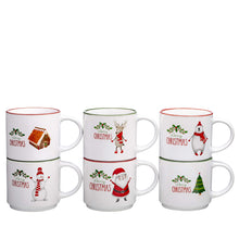 Load image into Gallery viewer, Set of 6 Large-sized 14 Ounce Ceramic Coffee Mugs Christmas Theme
