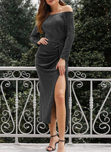 Load image into Gallery viewer, Happy Sailed Women Half Sleeve Off The Shouder Metallic Knit Slit Evening Party Dresses S Black