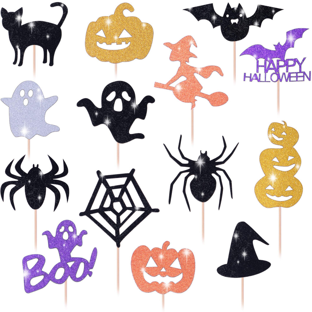 Get Fresh Halloween Cupcake Toppers Set, 14pcs Sparkly Set, Bat Witch Ghost Star, Baby Shower Food Picks Decor, Cupcake Halloween Party Picks, Halloween Cupcake Decorations