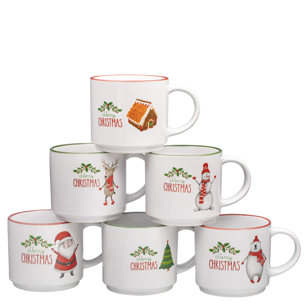 Set of 6 Large-sized 14 Ounce Ceramic Coffee Mugs Christmas Theme