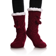Load image into Gallery viewer, YEBING Women's Cable Knit Super Soft Warm Cozy Fuzzy Fleece-lined Winter Slipper Socks (Wine Red)
