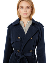 Load image into Gallery viewer, London Fog Women's 3/4 Length Double-Breasted Trench Coat with Belt, Navy, Medium